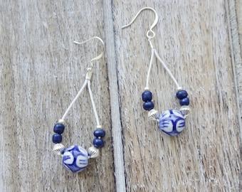 Blue and White Ceramic Bead Earrings, Summer earrings, Dark Blue Earrings, Beaded Fiber Earrings, Navy Blue Earrings, Beaded Earrings, Boho