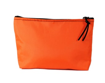 "9"" Orange Nylon fabric cosmetic bag/pouch"