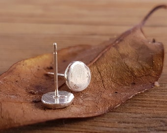 Large pebble studs / sterling silver earrings / nature-inspired