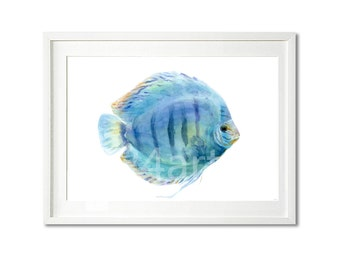 watercolor print, original watercolor fish print, fish art, animal painting buy two get one free