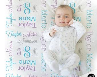 Monogram Baby Blanket in Purple and blue personalized swaddle blanket, receiving blanket, girl, baby shower gift, gift, baby blanket 1007