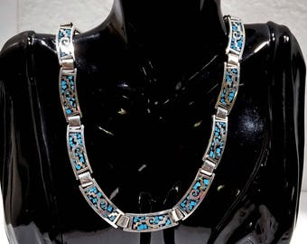Vintage Turquoise necklace Gift for Wife Birthday gifts for Mom Turquoise jewelry Sterling Silver necklace Collar necklace Taxco art Mexico