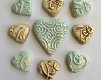 11 Super Cute Blue And Beige Ceramic Heart Tiles That Can Be used In Mosaic And Other Mixed Media Projects