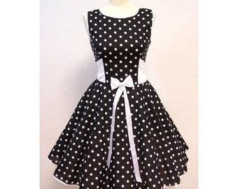 Petticoat dress 50's rockabilly black white