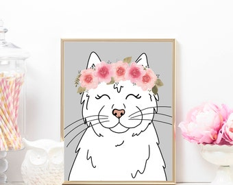 Floral White Cat Art, Cat Art Print, Cat Lady, White Cat Art Print, Cat Mom, Printable Art Print