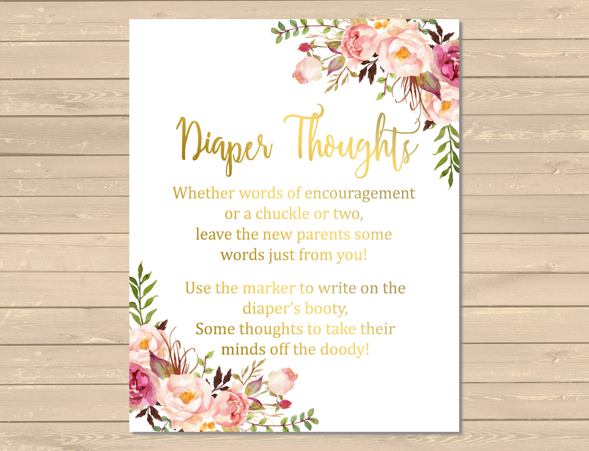 Gold Rustic Diaper Thoughts Game Printable Floral Diaper
