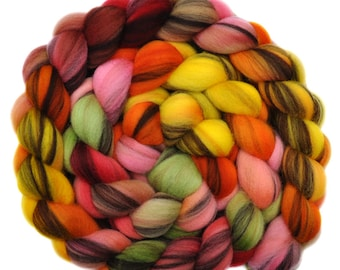 Hand dyed roving - 21.5μ Merino wool combed top spinning fiber - 4.2 ounces - Morris Dancers 2