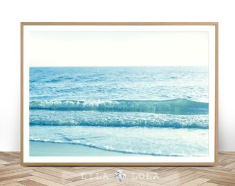 Beach Wall Art Print, Coastal Photography, Printable Digital Download, Large Wall Art, Ocean Water Waves, Minimalist Beach