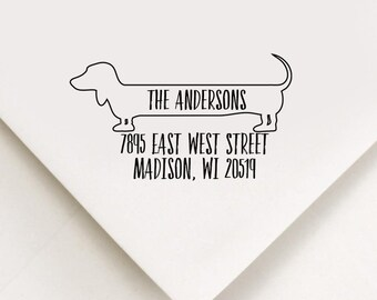 Dachshund Return Address Stamp, Custom Stamp, Self Inking Stamp, Doxie Address Stamp, Custom Address Stamp, Housewarming Gift, Realtor Gift