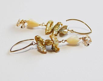 Pikake, 14kt gold filled, flower carved mother of pearl, keishi freshwater pearls,