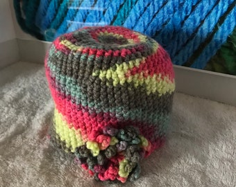 Infant sized flowered beanie
