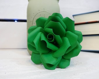Green Paper Flowers - Paper flowers with stems - Paper Flower Bouquet - Wedding Bouquet - Paper Anniversary - Wedding Flowers