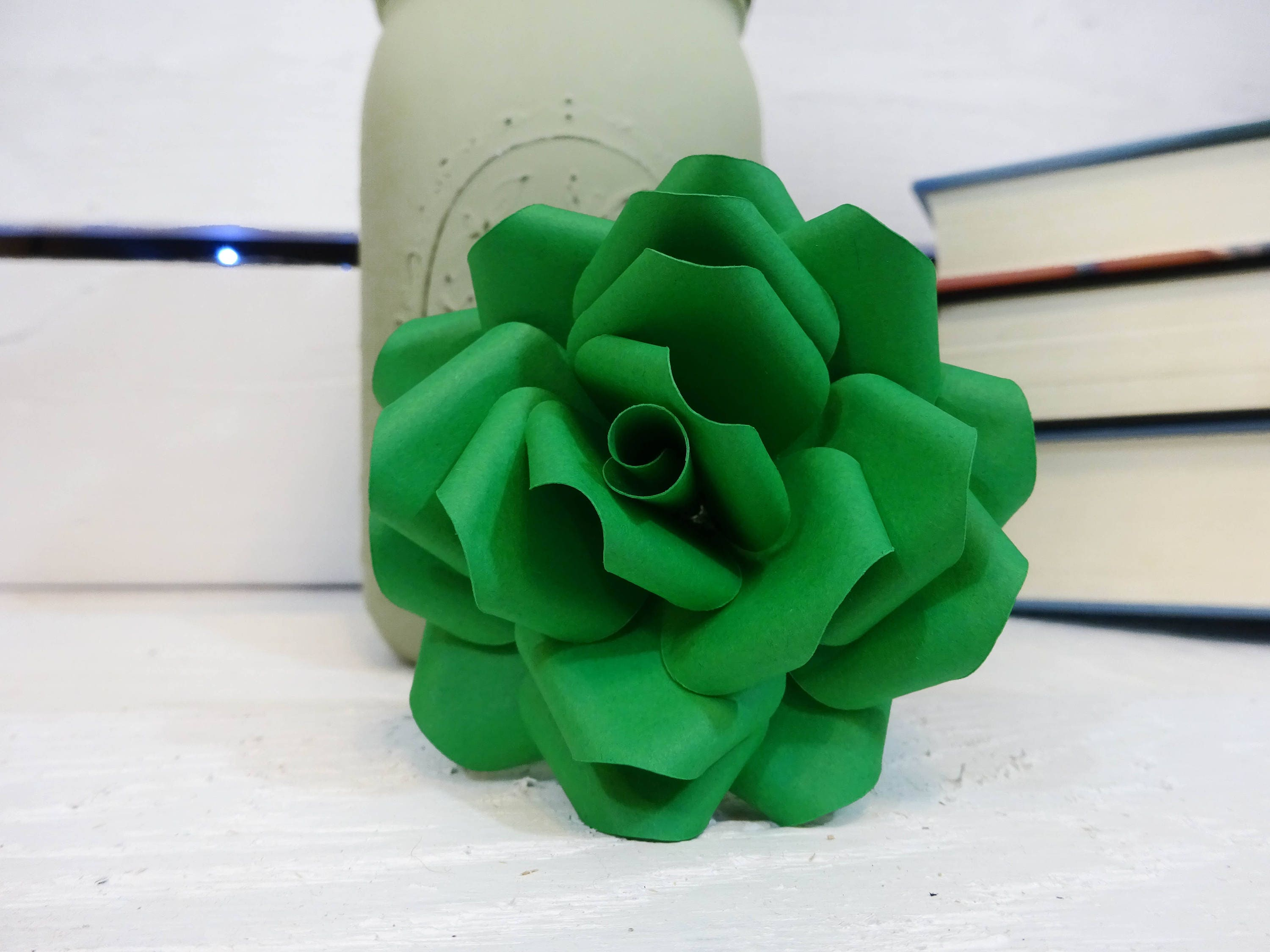 Green Paper Flowers Paper Flowers With Stems Paper Flower