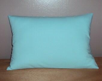 Solid Aqua Cotton Decorative Lumbar Pillow Cover In 3 Sizes