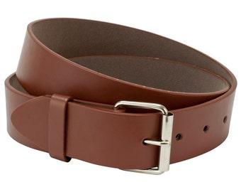 Brown Leather Belt Strap, Mens Belt, Womens Belt, Size Large Belt Strap, Interchangeable Snap Belt Strap With Silver Belt Buckle , Kids Belt