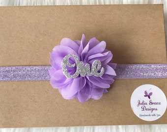 Lavender and Silver First Birthday Headband, Baby Headband, Newborn Headband, Baby Girl Headband, Infant Headband, 1st Birthday Headband