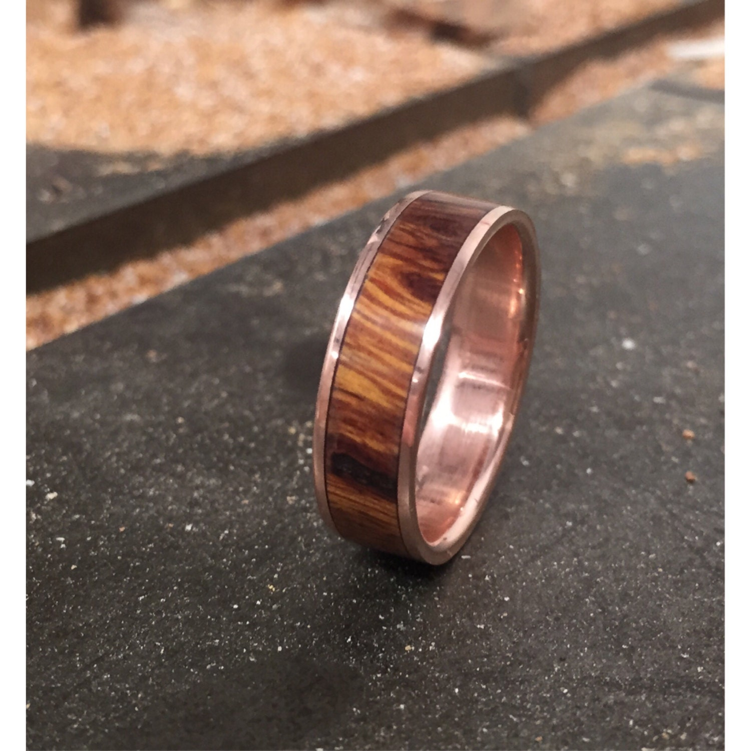 Titanium wedding bands for men with wood inlay