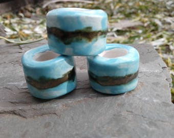 Set 3 Turquoise Gold Macrame Beads Large Hole Ceramic Beads Antique Gold Pottery Dreads Dreadlocks Clay Fibre Projects .2