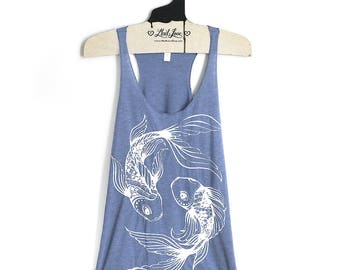 Small- Triblend Periwinkle Racerback Tank with Branch Trees Screen Print