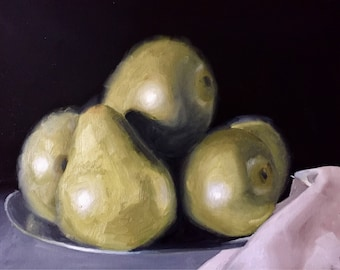 Oil painting: Pears, green, fruit