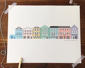 Rainbow Row. Charleston Art. Architectural Prints. SC Art Print. South Carolina Gift. Home Decor. Gift Under 30. 11x14 Art Print.