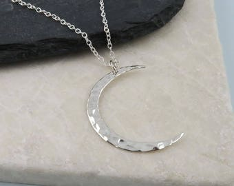 Crescent Moon Necklace, Sterling Silver