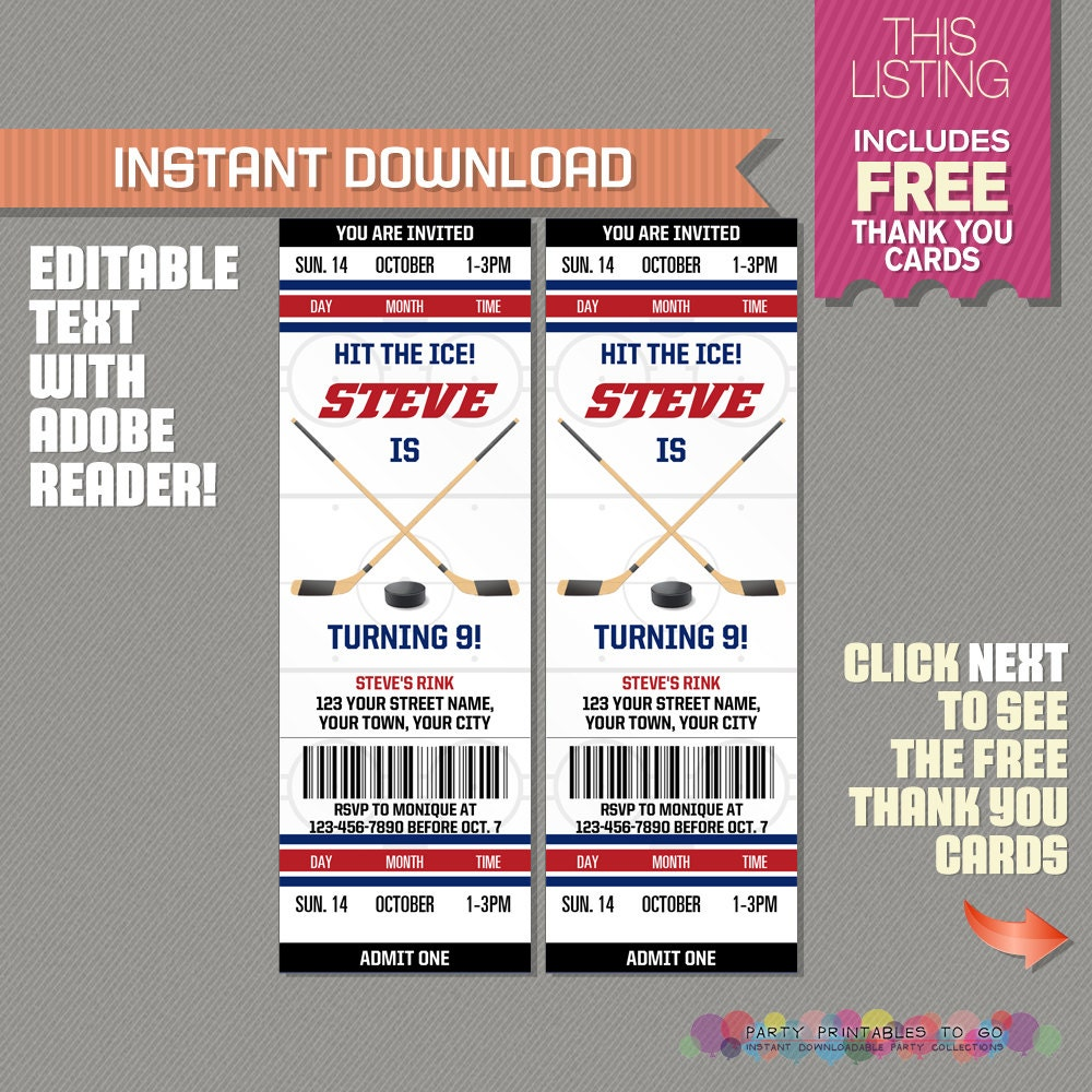 Hockey Ticket Invitation with FREE Thank you Card Ice
