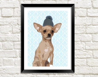 CHIHUAHUA ART PRINT: Cute Dog in Hat Art Illustration Wall Hanging (A4 / A3 Size)