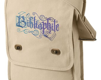 Booked Up - Bibliophile Embroidered Canvas Field Bag