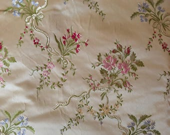 French Country Lampas Silk Floral Bouquet Fabric by Stark Fabrics