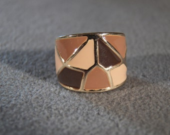 Vintage Yellow Gold Tone Enameled Wide Cigar Band Ring Size 5.5
