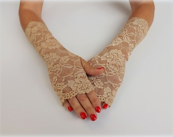 Gold elastic floral lace gloves. Fingerless gloves. Bridal gloves. Lace mittens. Gold,White,Ivory,Mint green,Midnight black Wedding gloves.