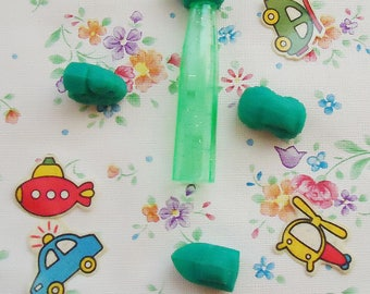Three Cute Mini 80s Erasers plus one Pencil Top and Four Stickers.