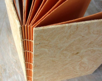 Journal Butterscotch 8x6.5 inches, unlined torn orange pages, Ready to Ship