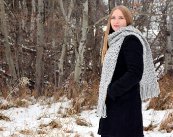Anneliese Scarf: crochet scarf, fringed super scarf, extra long scarf, cozy scarf, crochet wool scarf