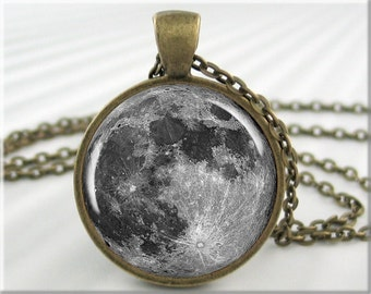 Full Moon Necklace, Resin Charm, Lunar Space Jewelry, Moon Pendant, Round Bronze, Gift Under 20, Gift For Space Geek, Moon Charm 190RB