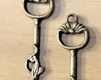Fathers Day Sale 2 Sitting Cat Brass Keys, Bracelet charms, Necklace pendant, jewelry supplies, craft supply