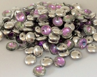 6mm Lentil Beads, Crystal Vitrail Light, 50 pieces, Top Drilled