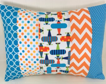 Nursery Decor, Pillow Cover, Baby Bedding, 12 x 16, Throw Pillows, Cushion Cover, Pillow, Navy Blue Orange Turquoise Airplane Plane Baby Boy