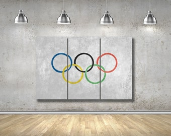 Olympic Flag Canvas, Olympic Decor, 2016 Olympics, Multi Canvas Wall Art, Multi Panel Canvas, 3 Panel Canvas, Canvas Wall Decor, DB1606012