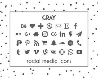 Social Media Icons, Gray Icons, Gray Buttons, Social icon, Blog Icons, Resume Icons, Business Card Icons, Social Media Buttons, Website Icon