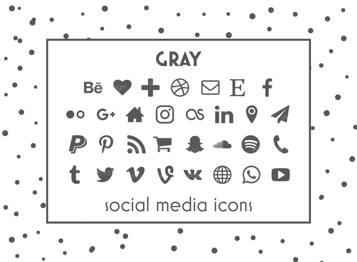 Social Media Icons Gray Icons Gray Buttons Social icon