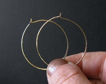 """14k solid gold hoop earrings.  14k Yellow, rose or Palladium White Gold.  Medium 1 3/8"""". Simple lightweight bridal jewelry.  Gift for her."""