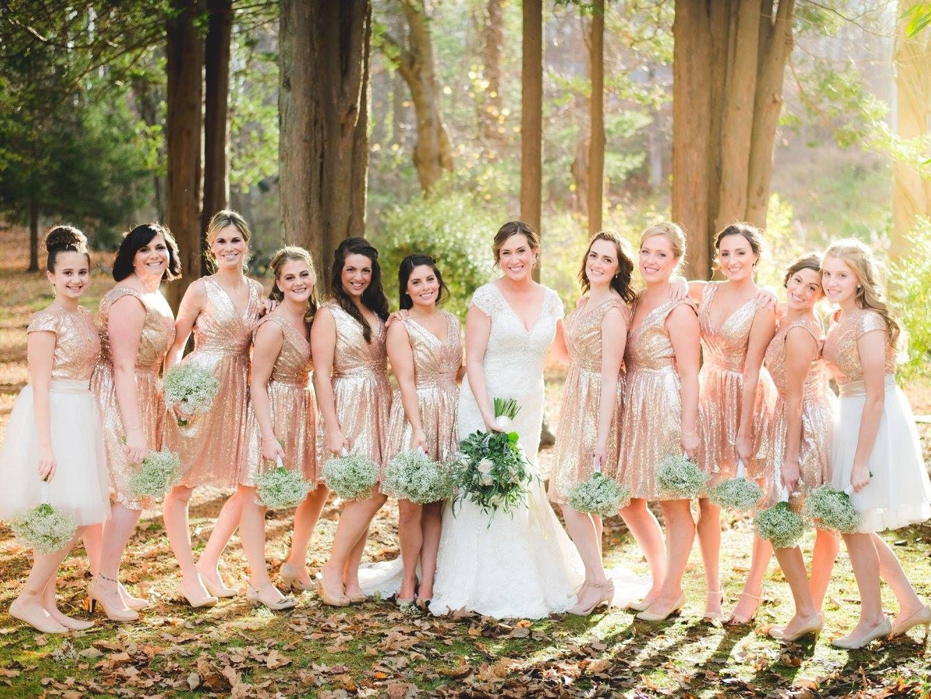 Short sequin bridesmaids dress rose gold sequin bridesmaids zoom ombrellifo Choice Image