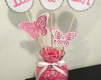 Butterflies baby shower centerpiece