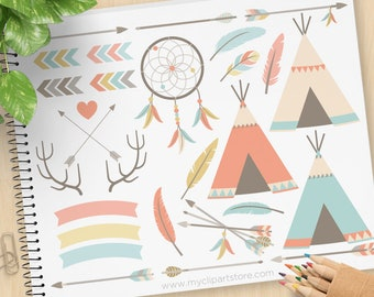 Tribal Elements (1) Clipart, Native American Indian, bohemian wedding clipart, boho, dreamcatcher, Commercial Use, Vector clip art, SVG File