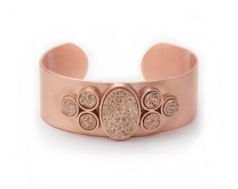 Statement Cuff - Large Druzy Cuff - Rose Gold Druzy in Rose Gold Cuff - Statement Bracelet - Druzy / Drusy / Drusie