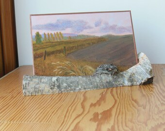 """Mini oil painting on copper """"Planting Time"""" in a birch branch twig stand for your desk or shelf decor a bit of nature to bring inside"""