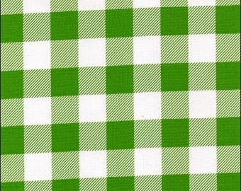 Round Large Gingham Lime Oilcloth Tablecloth