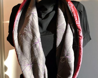 pink snood with grey polar inside